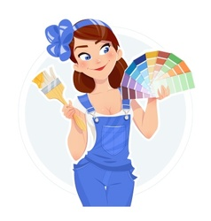 Beautiful girl with paint vector image