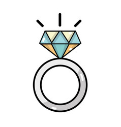 beauty wedding ring with diamond design vector image