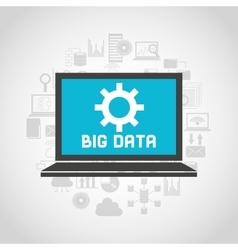 big data center flat icons vector image