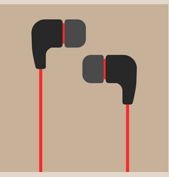 Black and red earphones flat icon vector