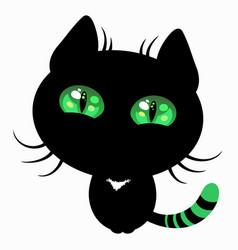 black kitty green eyes vector image