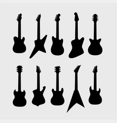 black silhouette of electric guitars vector image