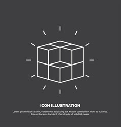 Box labyrinth puzzle solution cube icon line vector