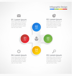 Business infographic design template with 4 steps vector