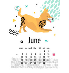 Calendar for june 2018 with playful foxterrier vector
