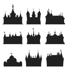 cartoon castle architecture silhouette vector image