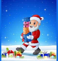 cartoon santa bringing gift box in the winter back vector image