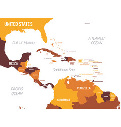 Central america map - brown orange hue colored on vector