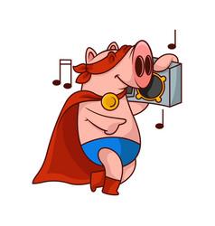 Cheerful pig superhero listening music with tape vector