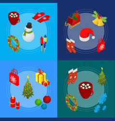 christmas celebration banner card set 3d isometric vector image