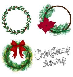 christmas crowns desing set holiday vector image
