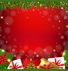 christmas garland isolated red background vector image
