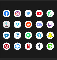 Circular white social media icon colored vector