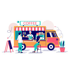 coffee truck concept for web banner vector image