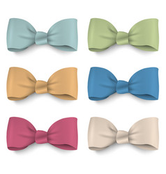 Collection pastel colors silk bows vector