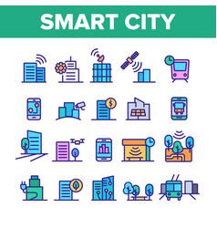 Color smart city elements icons set vector