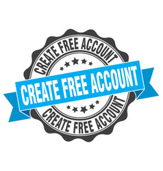 Create free account stamp sign seal vector