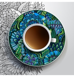 Cup of coffee and hand drawn floral ornament vector