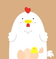 Cute big fat white hen vector