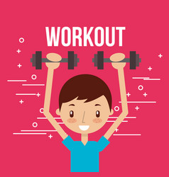 cute boy training with dumbbells fitness vector image