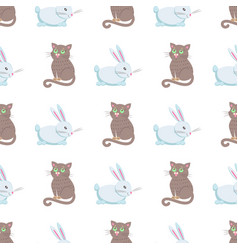 cute rabbits and cat flat seamless pattern vector image