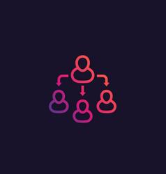 Delegation team management line icon vector