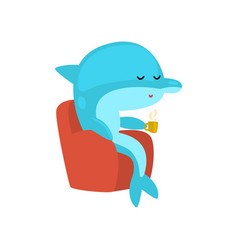 Dolphin sitting in armchair and drinking tea vector