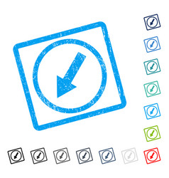Down-left rounded arrow icon rubber watermark vector