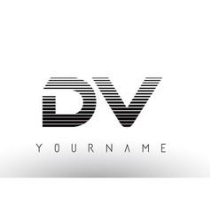 dv d v black and white horizontal stripes letter vector image