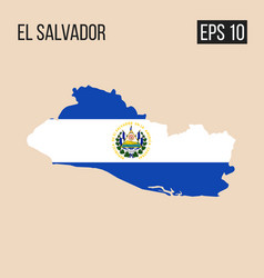 El salvador map border with flag eps10 vector