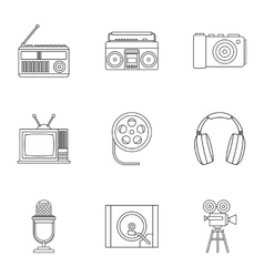 Electronic equipment icons set outline style vector