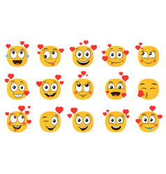 emoticons in love set vector image