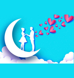 fall in love moon white romantic lovers pink vector image