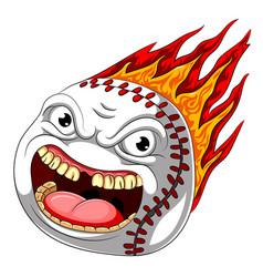flame scary baseball ball burn hot vector image
