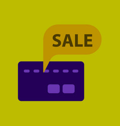 Flat icon of bank card sale vector