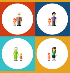 flat icon people set of father mother grandpa vector image