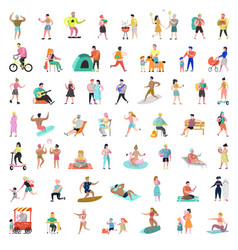 Flat people characters collection man and woman vector
