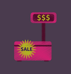 Flat shading style icon cash machine sale vector