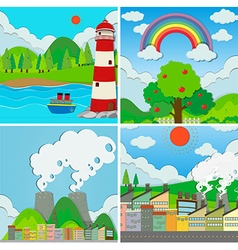 Four scenes of ocean and city vector image