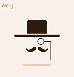 Gentleman with a mustache wearing a hat and a mono vector
