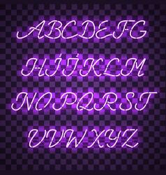 glowing purple neon uppercase script font vector image