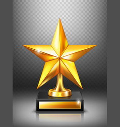gold trophy with star modern winner award vector image
