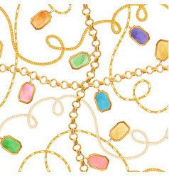 golden chains jewelry elements seamless pattern vector image