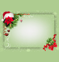 Green christmas background with decorations vector