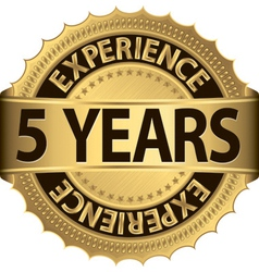 Grunge 5 years of experience golden label vector