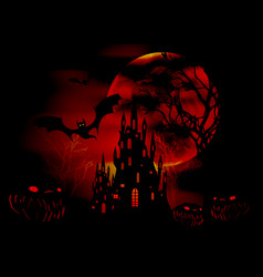 halloween red party scary bats and gothic castle vector image