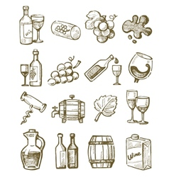 hand draw wine vector image