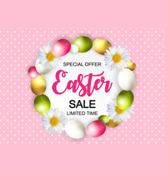 Happy easter cute sale poster background with eggs vector