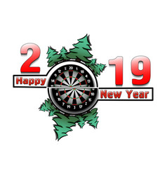 Happy new year 2019 and dartboard vector