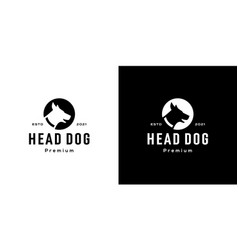 head dog circle logo negative space vector image